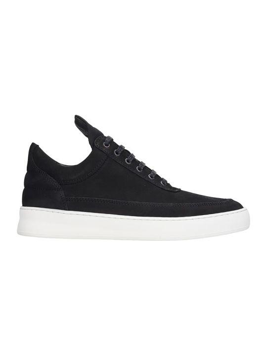 Filling Pieces Low Top Plain L Sneakers In Black Nubuck