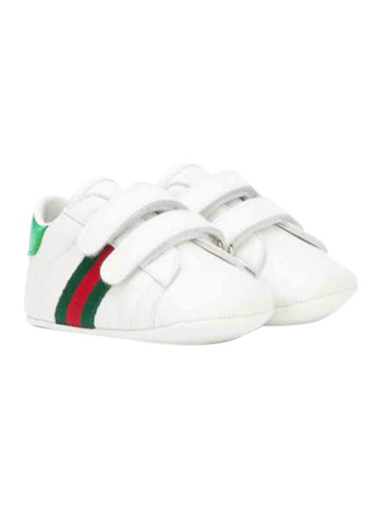 Gucci White Sneakers With Multicolor Details