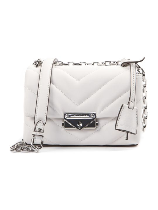 MICHAEL Michael Kors White Mini Cece Quilted Leather Shoulder Bag