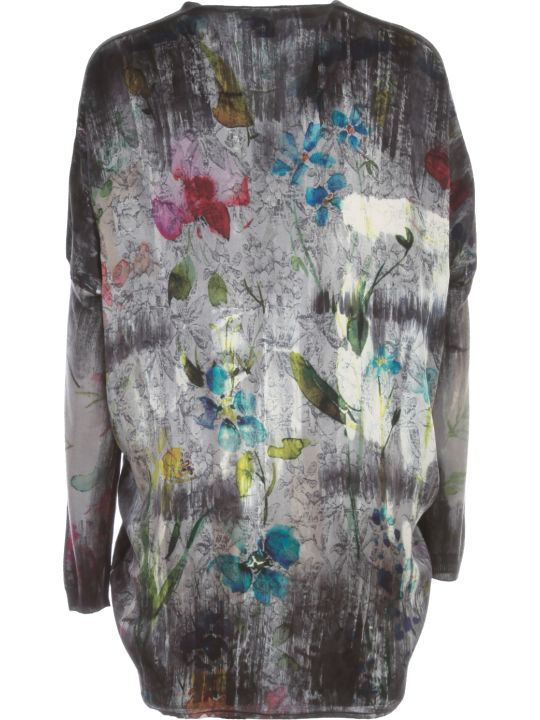 Avant Toi V Neck Flower Print Long Cardigan
