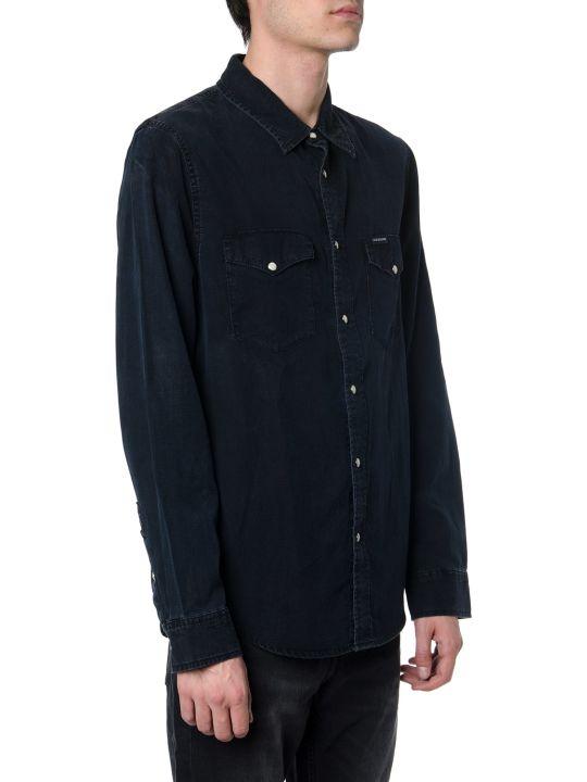 Calvin Klein Black Denim Shirt With Embroidery Logo