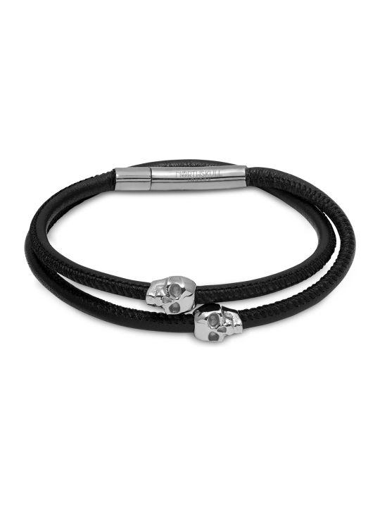 Northskull Skull Wrap Around Bracelet Black Leather & Silver