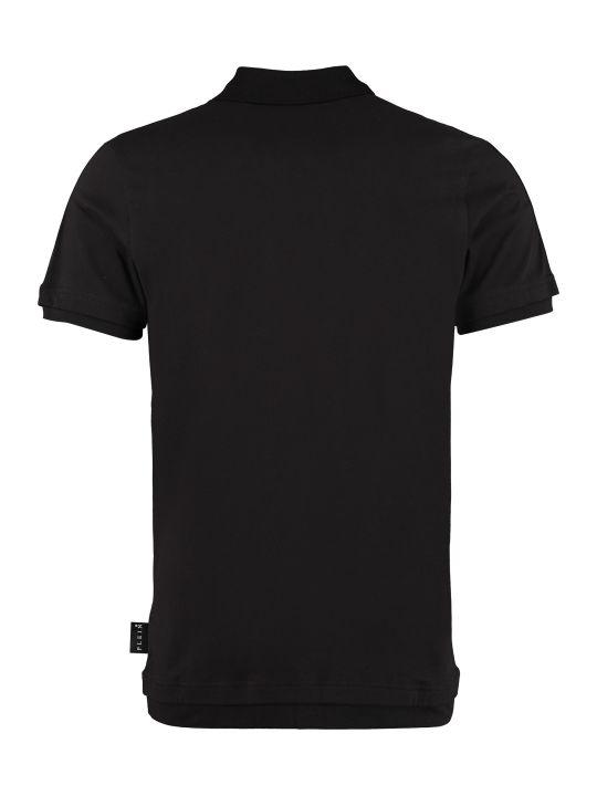Philipp Plein Hexagon Stretch Cotton Piqué Polo Shirt
