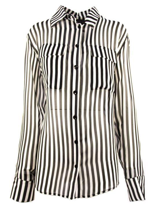 Federica Tosi Black And White Silk Striped Shirt