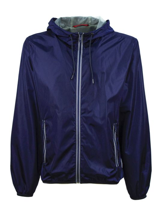 Fay Windproof Jacket In Blue Nylon