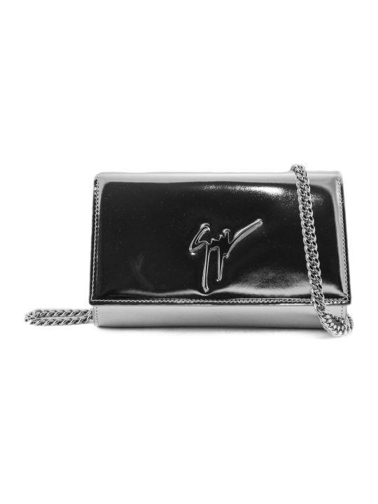 Giuseppe Zanotti Silver Patent Leather Metallic Logo Clutch