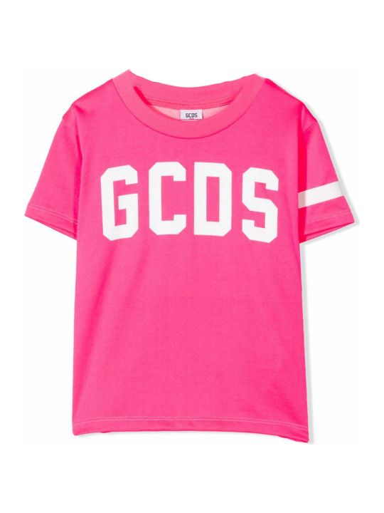 GCDS Fluorescent Pink Cotton T-shirt