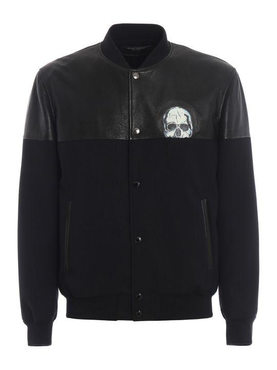 Alexander McQueen Leather Mix Bomber Jacket