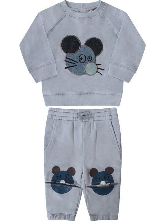 Stella McCartney Kids Light Blue Babyboy Tracksuit With Colorful Mouse