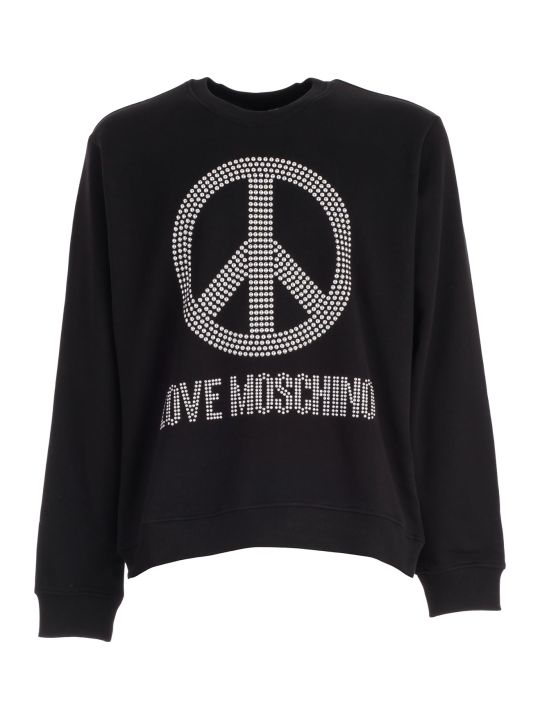 Love Moschino Sweatshirt W/peace Logo And Studs
