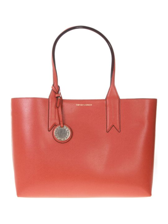 Emporio Armani Coral Shopper In Faux Leather With Logo Charm