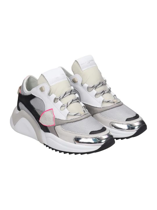 Philippe Model Eze Sneakers In Grey Leather And Fabric