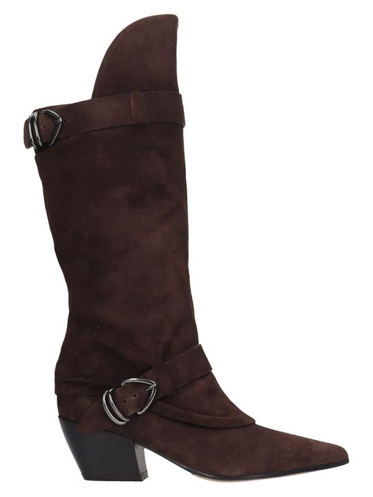 Dei Mille Texan Boots In Brown Suede