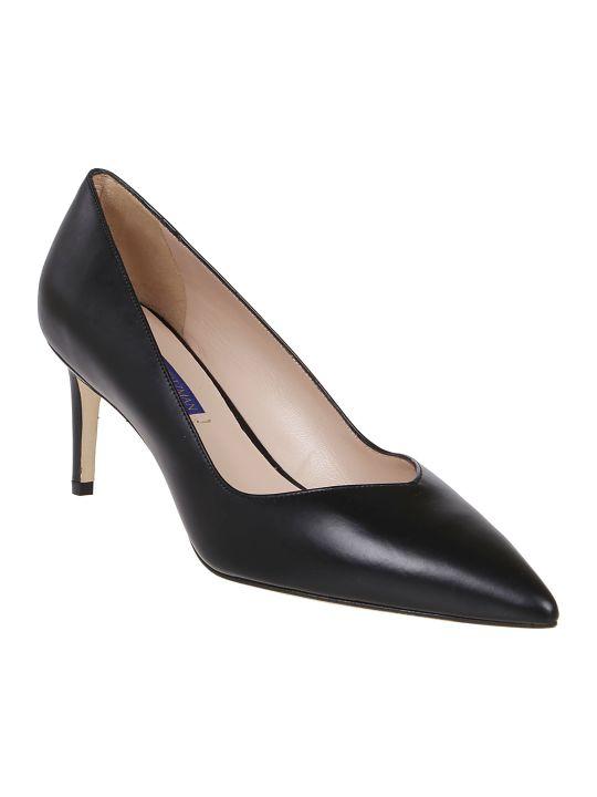 Stuart Weitzman Black Leather Court Shoes