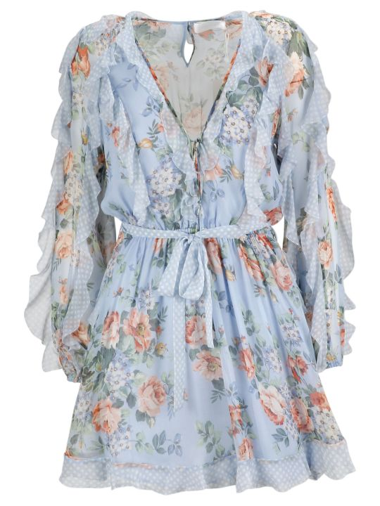 Zimmermann Floral Print Ruffled Playsuit