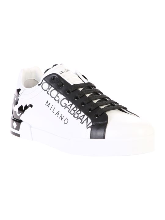 Dolce & Gabbana White Printed Sneakers