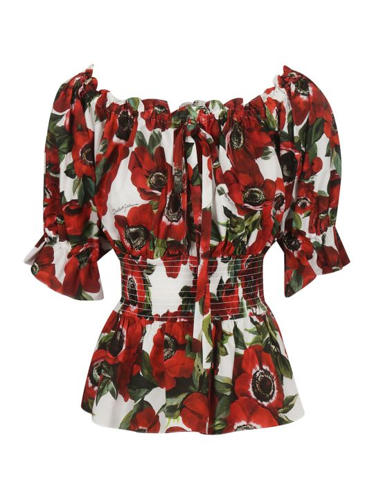 Dolce & Gabbana Off-shoulder Floral Blouse