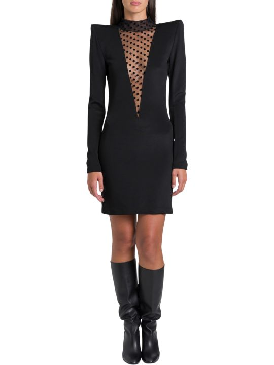 Balmain Dress With Tulle Swiss Dot Panel