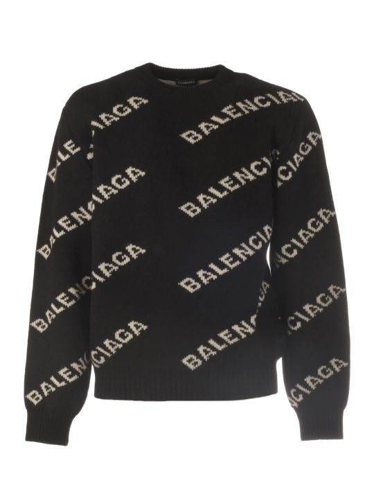Balenciaga L/s Crew Neck Knit With Zip And Logo All Over