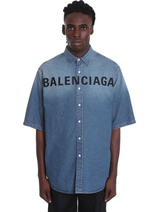 Balenciaga Shirt In Cyan Denim