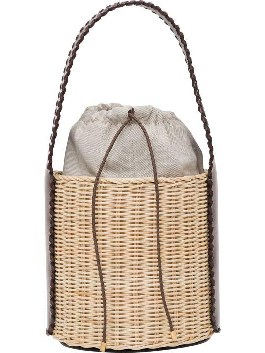 Max Mara Aisha Wicker And Leather Basket