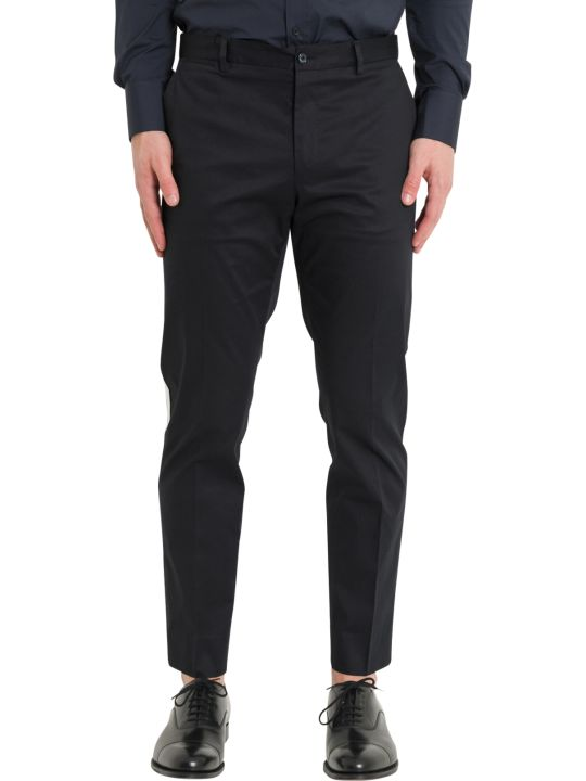 Dolce & Gabbana Blue Trousers With Side Bands