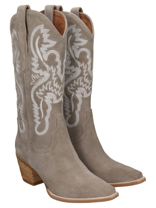 Jeffrey Campbell Dagget Boots In Taupe Suede