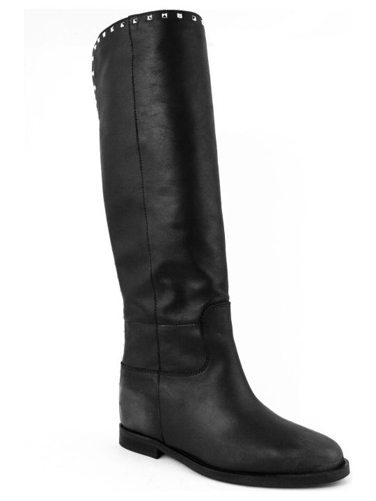 Via Roma 15 Black Leather Boots
