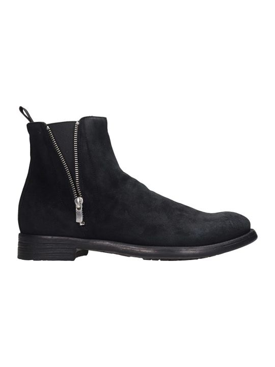 Officine Creative Hive Ankle Boots In Black Suede
