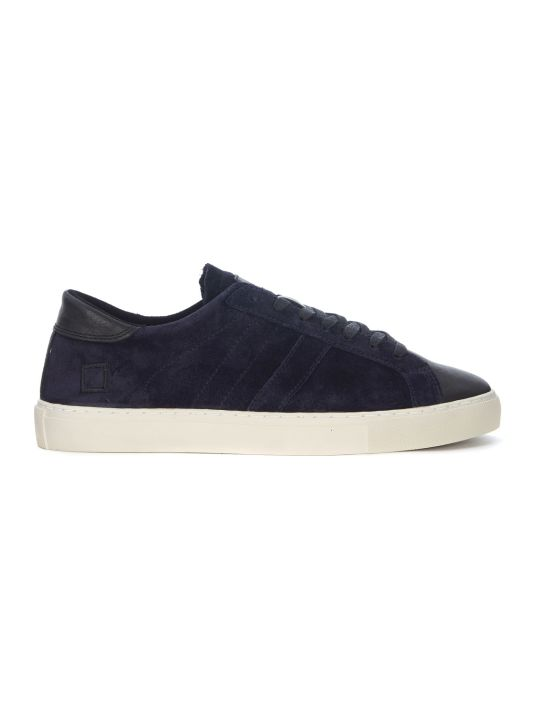 D.A.T.E. Newman Velour Blue Suede And Black Leather Sneaker