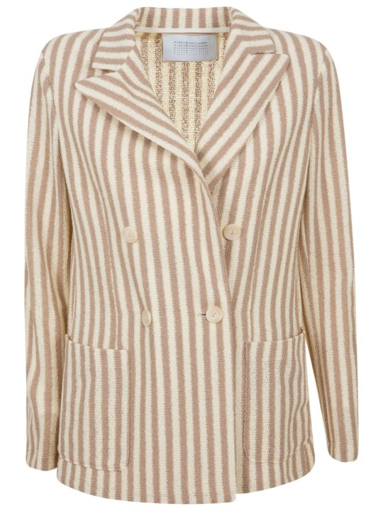 Harris Wharf London Peak Lapel Striped Blazer