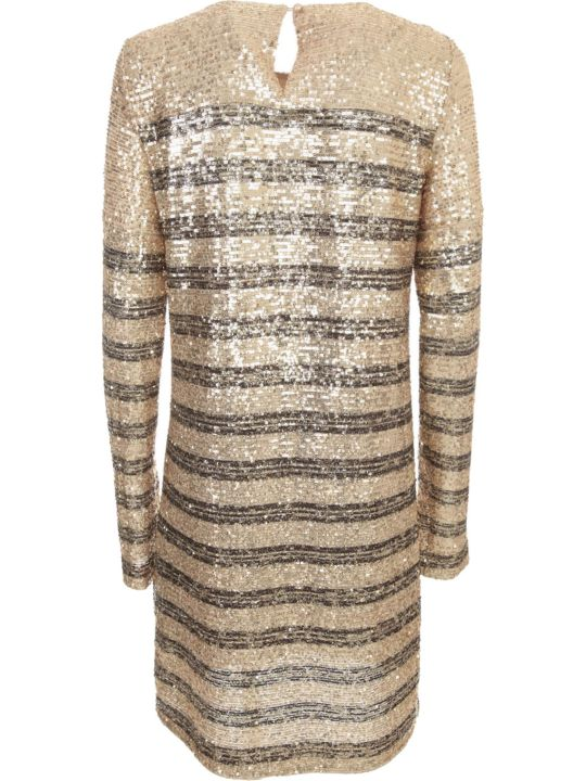 In The Mood For Love Long Sleeved Striped Print Round Neck Dress