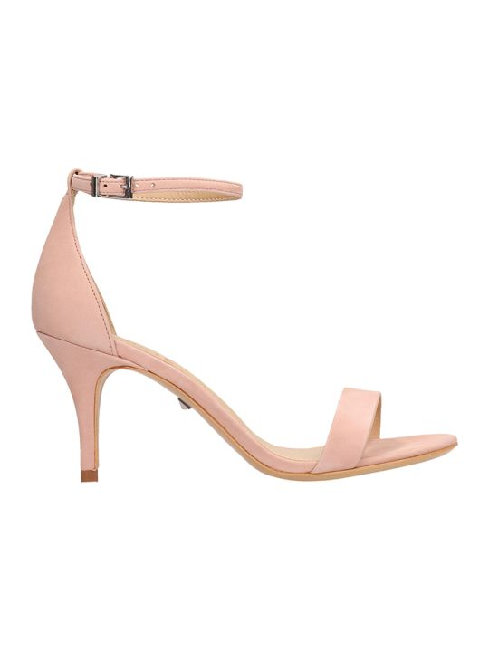 Schutz Pink Suede Leather Sandals