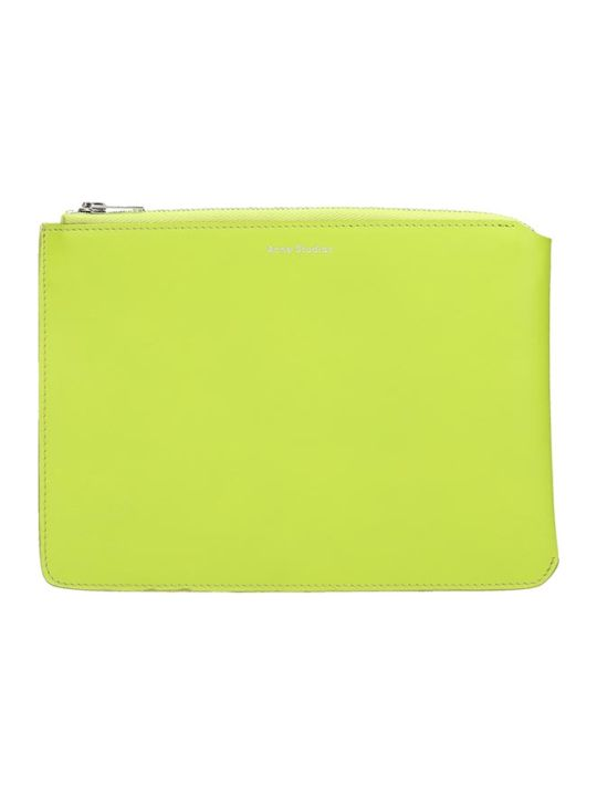 Acne Studios Malachite S M Clutch In Green Leather