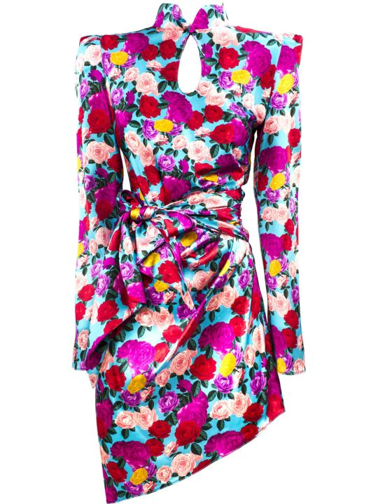 Giuseppe di Morabito Blue Stretch Silk Floral Print Dress