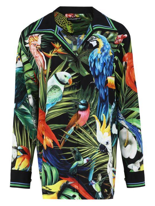 Dolce & Gabbana Oversize Printed Silk Shirt