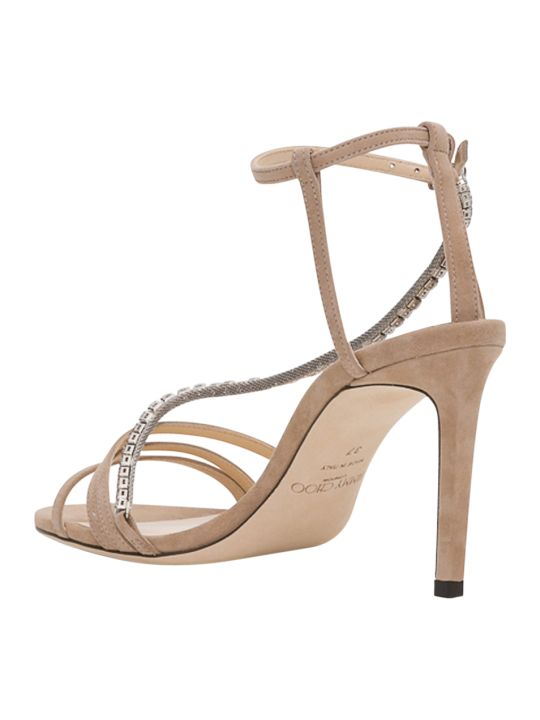 Jimmy Choo Thaia 85 Suede Sandals With Crystal Chain