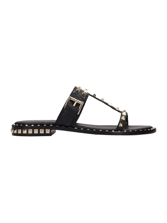 Ash Black Leather Flat Sandals