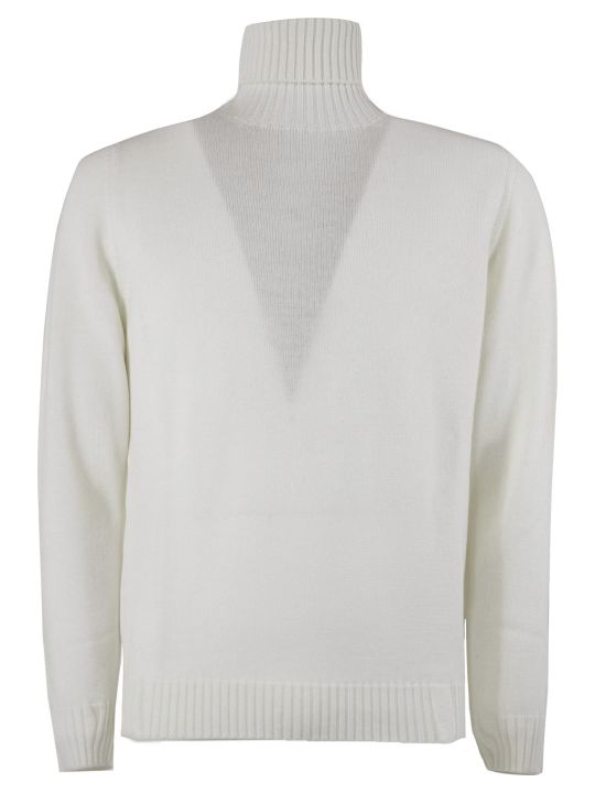Drumohr White Merino Wool Sweater