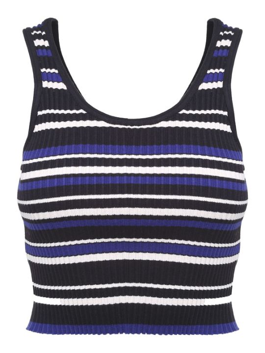 3.1 Phillip Lim Striped Rib-knit Crop Top