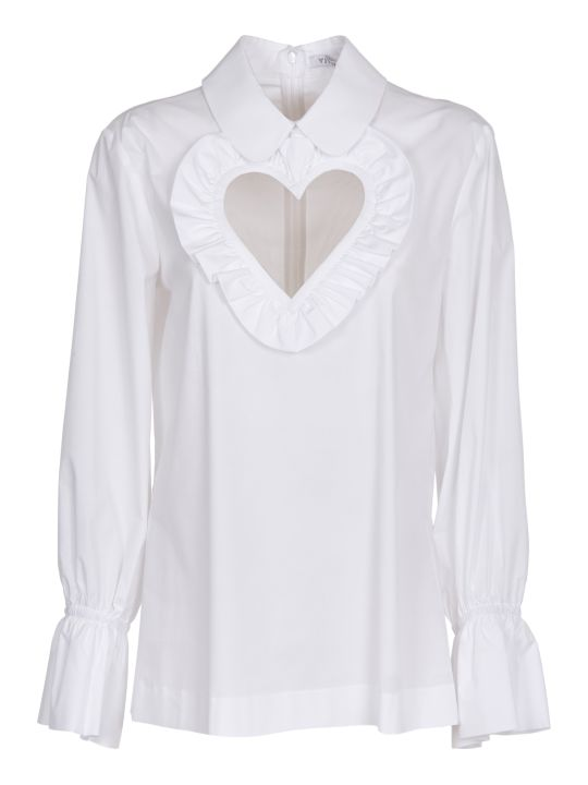 Vivetta White Heart Cut Out Shirt
