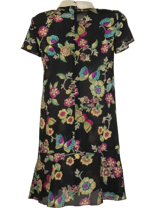 RED Valentino Silk Dress With Flower And Butterflies Print