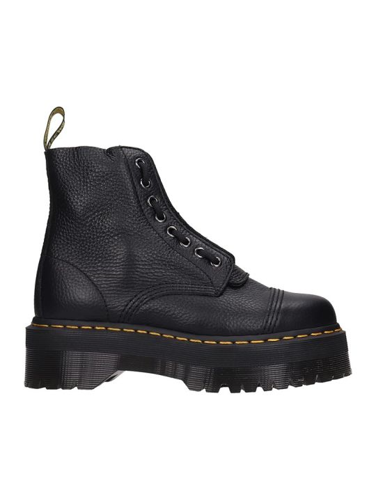 Dr. Martens Sinclair Combat Boots In Black Leather