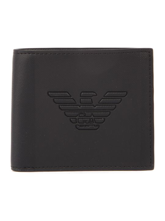 Emporio Armani Black Polyester Eagle Wallet
