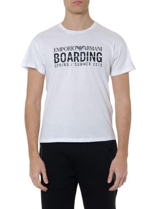Emporio Armani White Cotton Printed T Shirt