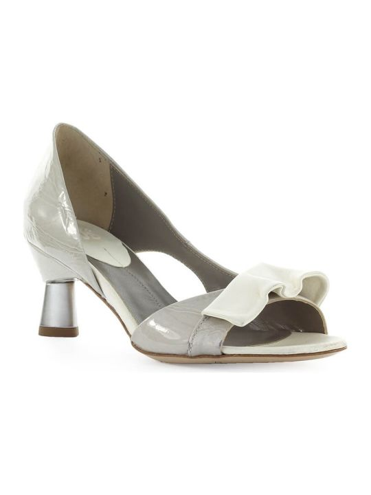 IXOS Bardot Grey White Open Toe Pump