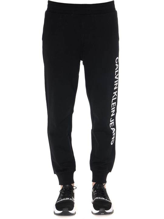 Calvin Klein Sport Trousers In Black Cotton With Logo Print