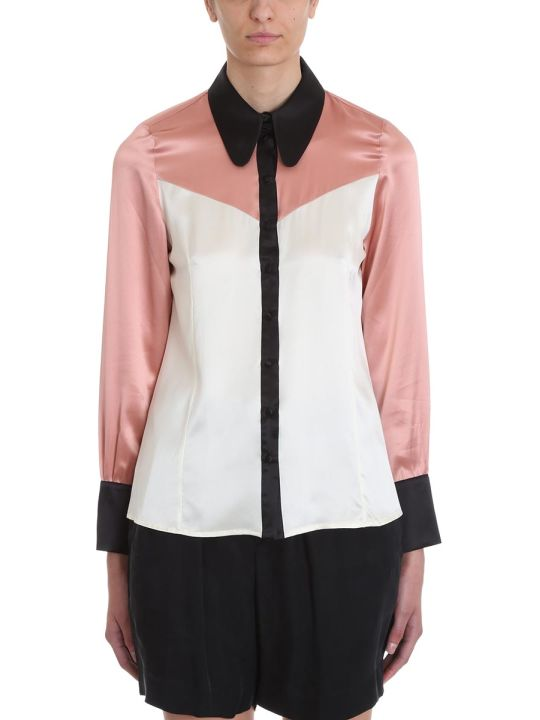 L'Autre Chose Pink White Black Satin Shirt