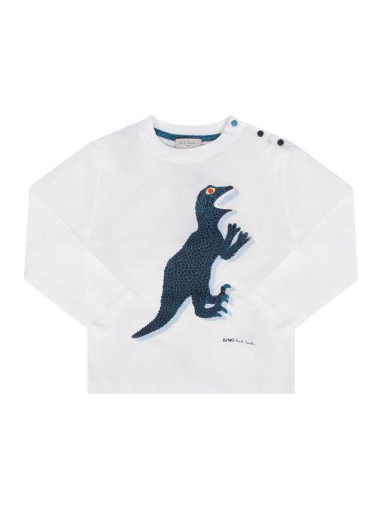 Paul Smith Junior White Babyboy T-shirt With Iconic Dinosaur