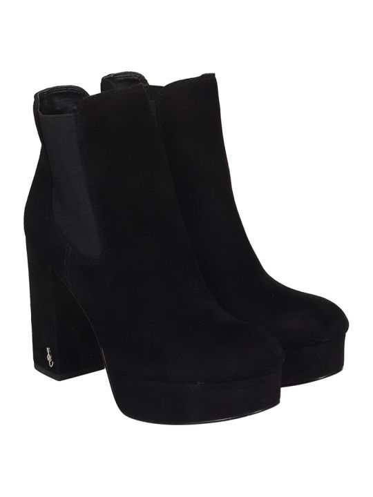 Sam Edelman Abella High Heels Ankle Boots In Black Suede